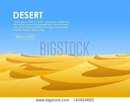 Warm day in barren desert with yellow sand dunes and blue sky. Vector illustration.