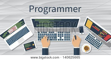 Programmer At Computer. Vector
