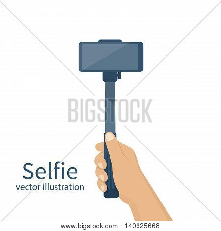 Selfie monopod on smartphone. Man holding in hand stick selfie. Vector illustration of a flat design. Blank template. Modern equipment for the phone.