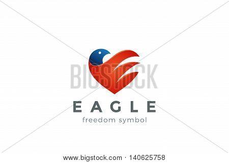 Eagle Logo Heart Vector design Falcon Hawk bird icon America