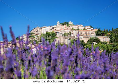 Simiane La Rotonde Village With Lavender Field In Provence, France