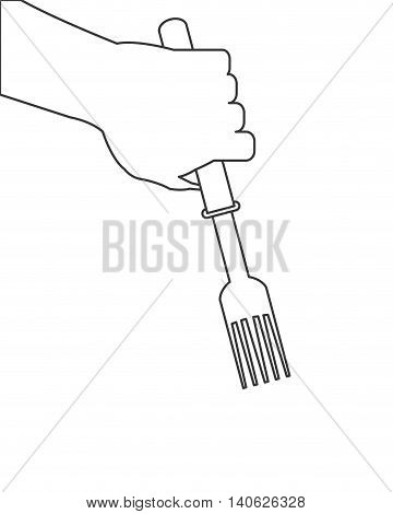 flat design hand holding fork icon vector illustration