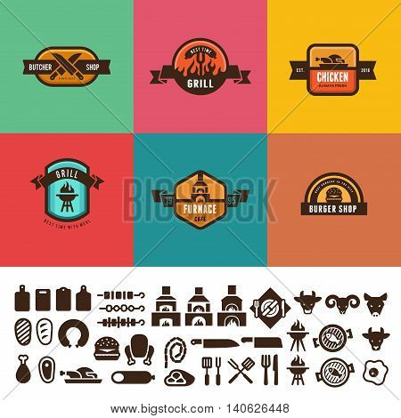 BBQ Grill Food Vintage Labels Logo vector design. Icon Butcher