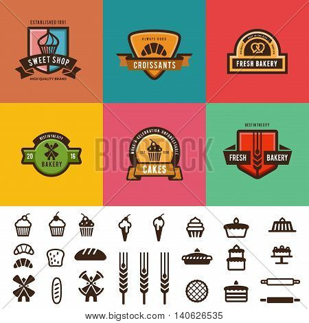 Bakery Shop Vintage Labels Logo vector design. Candy Icons