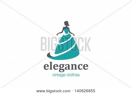 Elegant Woman Fashion Logo design vector. Beauty Clothes icon