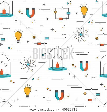 Vector seamless pattern with icons - physics. Science and educational background.