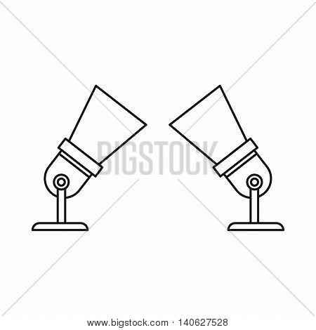Floodlights icon in outline style isolated on white background. Lighting symbol