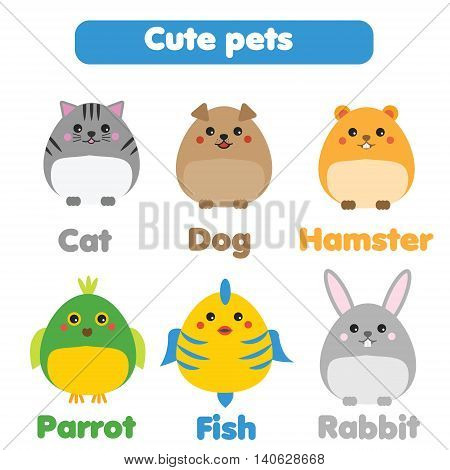 Cute pets set. Cat dog hamster fish parrot rabbit in children style vector illustration. Stickers educational illustrations isolated design elements for kids books