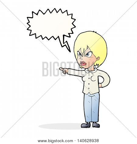 cartoon woman accusing with speech bubble