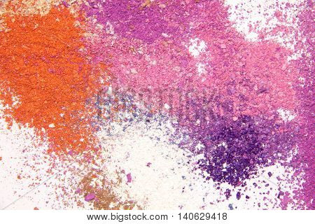 Eyeshadow Cosmetic Powder Scattered Copy Space. various cosmetic set isolated on white background. The concept of fashion and beauty industry. Abstract place text the texture of mineral makeup