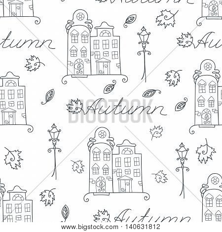 Autumn seamless pattern of houses, streetlights and falling leaves for coloring book. Design element for background, paper packaging, wrapping paper and other. Vector illustration.