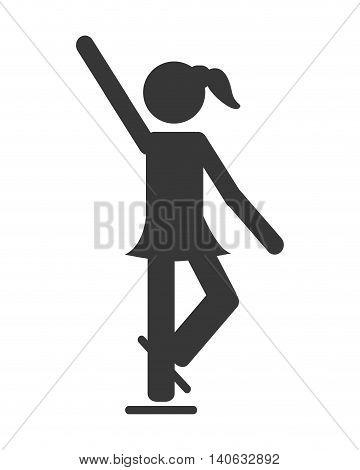 flat design ice skating pictogram icon vector illustration