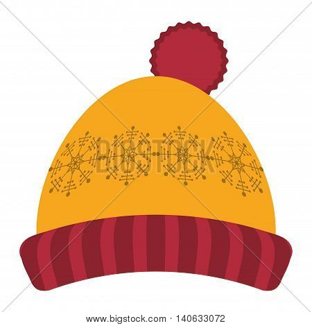 flat design winter knit hat icon vector illustration