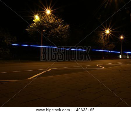 Night shot of a street with a long exposure time