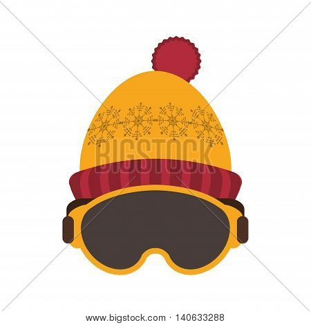 flat design ski mask and hat icon vector illustration