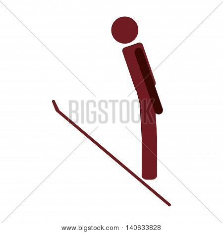 flat design ski jumping icon vector illustration