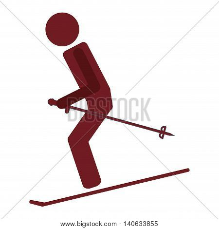 flat design pair of skiing pictogram icon vector illustration
