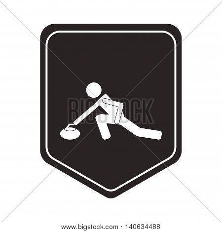 flat design curling pictogram icon vector illustration shield emblem