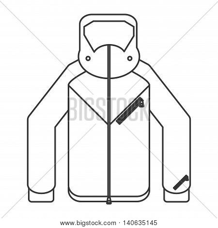 flat design winter jacket icon vector illustration