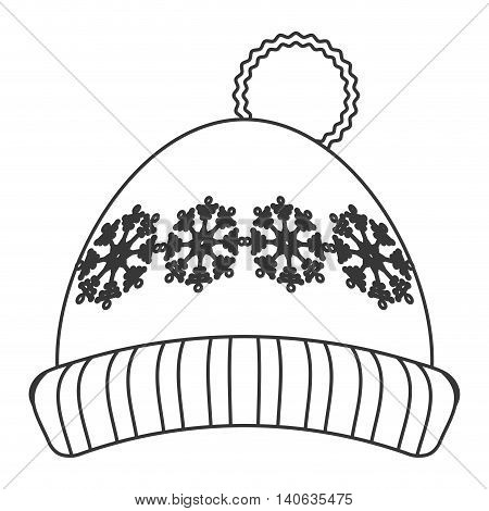 flat design winter knit hat icon vector illustration