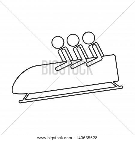 flat design bobsleigh sport icon vector illustration