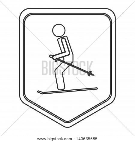 flat design pair of skiing pictogram icon vector illustration shield emblem