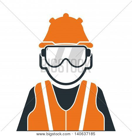 flat design industrial worker icon vector illustration