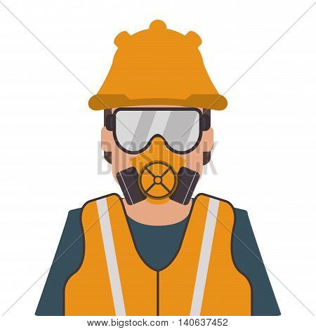 flat design person wearing gas mask icon vector illustration