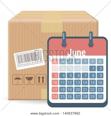 Brown closed carton parcel packaging box with fragile signs and bar code  isolated on white background with calendar. Vector icon template for shipping, delivery date and schedule.