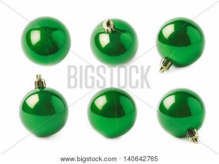 Single green Christmas tree ball decoration isolated over the white background, set of six different foreshortenings