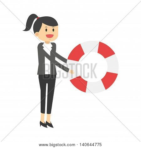 flat design business woman with life preserver icon vector illustration