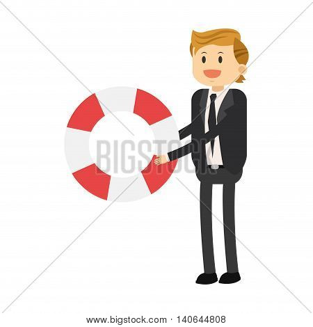 flat icon businessman with life preserver icon vector illustration