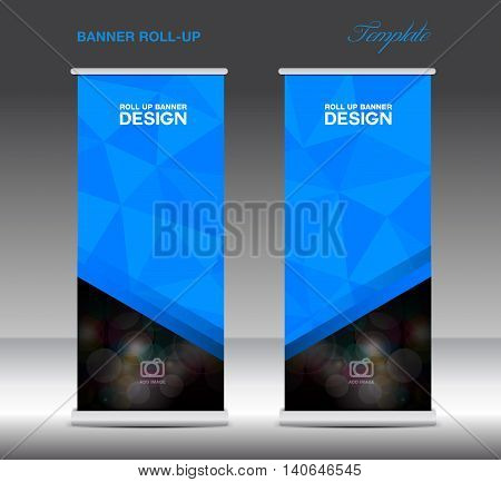 Blue Roll Up Banner template vecto stand layout display advertisement flyer design polygon background