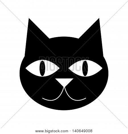 flat design cute cat cartoon icon vector illustration