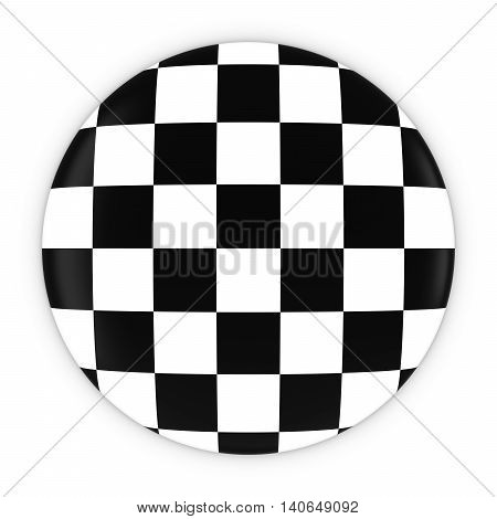 Checkered Flag Button - Racing Checkers Badge 3D Illustration