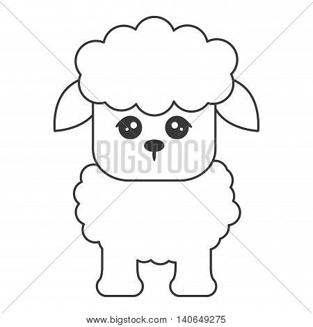 flat design cute sheep cartoon icon vector illustration