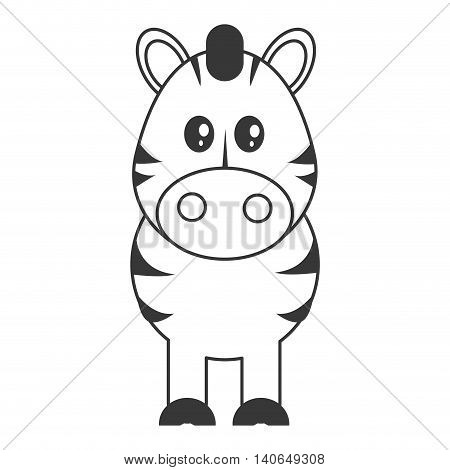 flat design cute zebra cartoon icon vector illustration