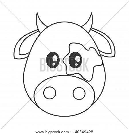 flat design Cute cow cartoon icon vector illustration