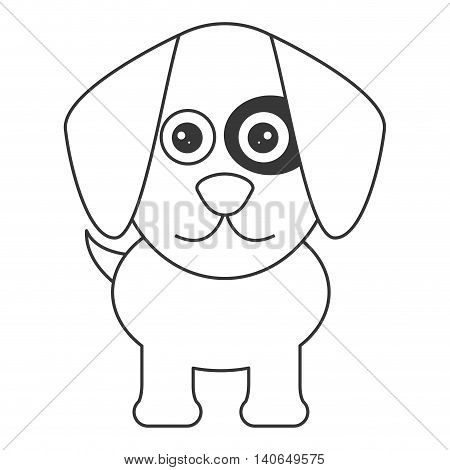 flat design cute dog cartoon icon vector illustration