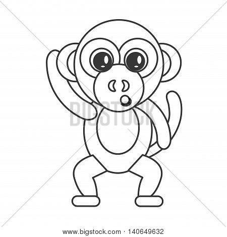 flat design cute monkey cartoon icon vector illustration