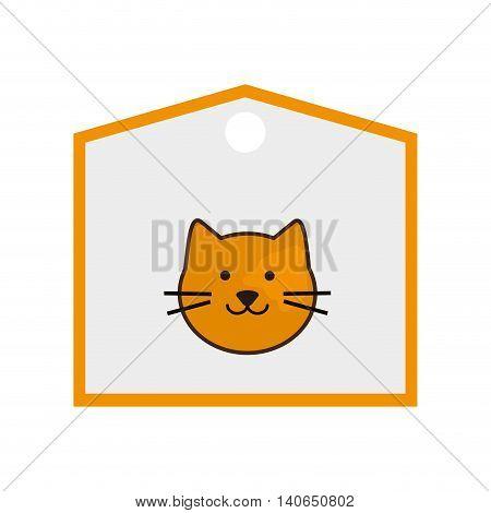 flat design cute cat cartoon on label icon vector illustration