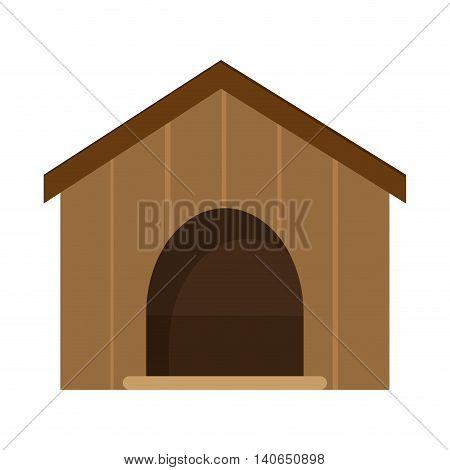 flat design dog house icon vector illustration