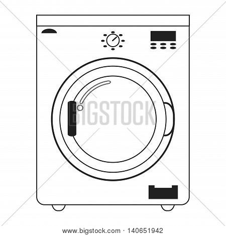 flat design washing machine icon vector illustration