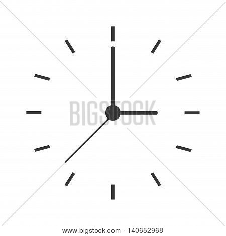 flat design clock face icon vector illustration
