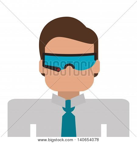 flat design person using modern glasses icon vector illustration