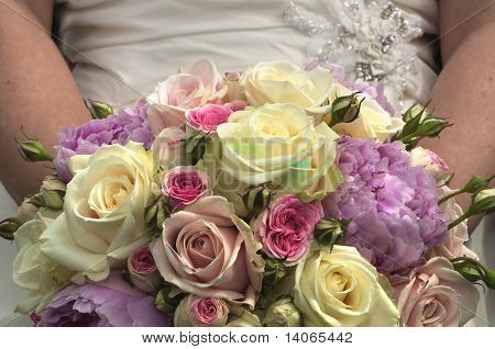 Bride And Bouquet Of Flowers