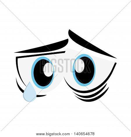 flat design sad cartoon eyes icon vector illustration