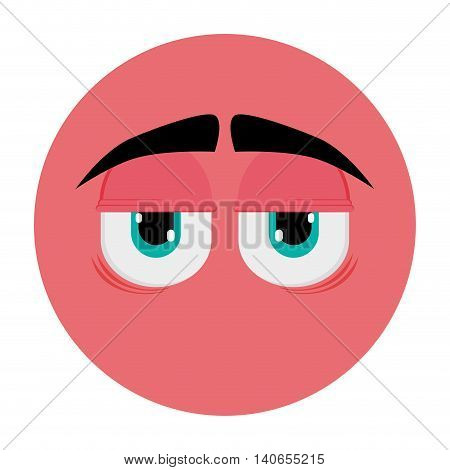 flat design tired face emoticon icon vector illustration