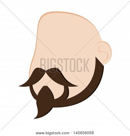 flat design faceless man head with facial hair icon vector illustration