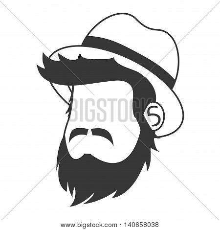 flat design faceless man head with facial hair and hat icon vector illustration